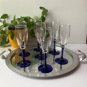 7 cobalt blue glass champagne glasses / flutes